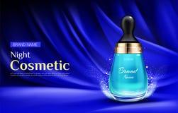 Μπουκάλι κρέμας ομορφιάς καλλυντικών νύχτας με την αγγελία σταγονίδιων διανυσματική απεικόνιση