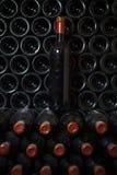 Μπουκάλι κρασιού σε ένα κελάρι κρασιού στοκ εικόνα