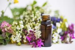Μπουκάλι ουσιαστικού πετρελαίου Aromatherapy, floral πετρέλαιο Στοκ εικόνες με δικαίωμα ελεύθερης χρήσης