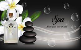 Μπουκάλι ουσιαστικού πετρελαίου SPA, λουλούδια plumeria και zen πέτρες Στοκ Φωτογραφία
