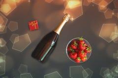 Μπουκάλι της σαμπάνιας, του κιβωτίου δώρων και των φραουλών Σκοτεινή ανασκόπηση στοκ φωτογραφία