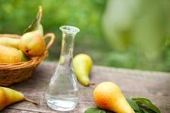 Μπουκάλι του κονιάκ και του αχλαδιού φρούτων στοκ φωτογραφία με δικαίωμα ελεύθερης χρήσης