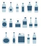 Μπουκάλια και εικονίδια συσκευασίας Στοκ εικόνα με δικαίωμα ελεύθερης χρήσης