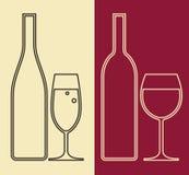Μπουκάλια και ποτήρια του κρασιού απεικόνιση αποθεμάτων