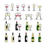 Μπουκάλια κρασιού και σαμπάνιας και εικονίδια γυαλιών καθορισμένα απεικόνιση αποθεμάτων