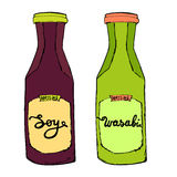 Μπουκάλια σόγιας και Wasabi Σάλτσες που τίθενται για τα θαλασσινά σουσιών καρύκευμα Στοκ φωτογραφία με δικαίωμα ελεύθερης χρήσης