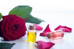 Μπουκάλια του ουσιαστικού πετρελαίου για aromatherapy Στοκ Φωτογραφία
