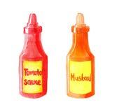 Μπουκάλια Watercolor της σάλτσας και της μουστάρδας ντοματών Στοκ Φωτογραφία