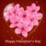 Μπουκάλι γυαλιού στη μορφή καρδιών με το άνθος δαμάσκηνων Ευχετήρια κάρτα για την ημέρα βαλεντίνων στο ύφος κινούμενων σχεδίων επ Στοκ Εικόνες