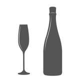 Μπουκάλι και γυαλί CHAMPAGNE Στοκ Εικόνα