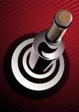 Μπουκάλι κρασιού που στέκεται σε έναν στόχο απεικόνιση αποθεμάτων