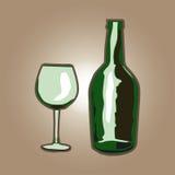 Μπουκάλι με ένα γυαλί Στοκ Φωτογραφίες