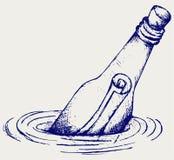 Μπουκάλι με ένα μήνυμα στο νερό απεικόνιση αποθεμάτων