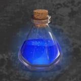 Μπουκάλι με την πορτοκαλιά φίλτρο Εικονίδιο παιχνιδιών του μαγικού ελιξιρίου Φωτεινό σχέδιο για app το ενδιάμεσο με τον χρήστη Μα Στοκ Εικόνα