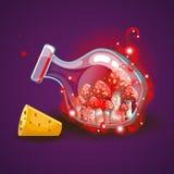 Μπουκάλι με το μαγικοί καπνό και amanita Στοκ εικόνα με δικαίωμα ελεύθερης χρήσης