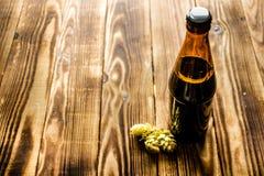 Μπουκάλι μπύρας με τους ξηρούς λυκίσκους Στοκ εικόνα με δικαίωμα ελεύθερης χρήσης