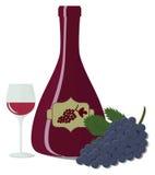 Μπουκάλι, ποτήρι του κρασιού και γλυκά σταφύλια Στοκ Φωτογραφία