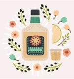 Μπουκάλι του tequila, του caballito και μιας φέτας του λεμονιού που διακοσμείται με τα λουλούδια στο χρώμα vitage διανυσματική απεικόνιση