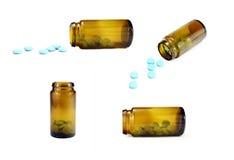 Σύνολο τεσσάρων εικόνων. Μπουκάλι χαπιών σε τέσσερις διαφορετικές θέσεις Στοκ Φωτογραφία