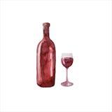 Μπουκάλι Watercolor του κόκκινου κρασιού και του γυαλιού Στοκ Εικόνα