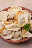 Μπουλέττες, που γεμίζουν με το κρέας βόειου κρέατος και που εξυπηρετούνται με το τηγανισμένο κρεμμύδι Varenyky, vareniki, pierogi στοκ εικόνες