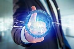 Μπουλόνι φωτισμού βροντής σε μια διεπαφή ροδών επιστημονικής φαντασίας - τρισδιάστατη Στοκ φωτογραφία με δικαίωμα ελεύθερης χρήσης