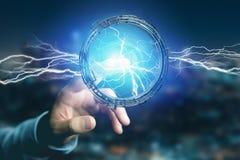 Μπουλόνι φωτισμού βροντής σε μια διεπαφή ροδών επιστημονικής φαντασίας - τρισδιάστατη Στοκ Εικόνες