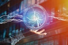 Μπουλόνι φωτισμού βροντής σε μια διεπαφή ροδών επιστημονικής φαντασίας - τρισδιάστατη Στοκ εικόνα με δικαίωμα ελεύθερης χρήσης
