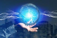 Μπουλόνι φωτισμού βροντής σε μια διεπαφή ροδών επιστημονικής φαντασίας - τρισδιάστατη Στοκ εικόνες με δικαίωμα ελεύθερης χρήσης