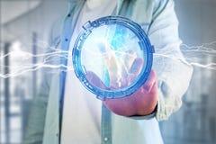 Μπουλόνι φωτισμού βροντής σε μια διεπαφή ροδών επιστημονικής φαντασίας - τρισδιάστατη Στοκ φωτογραφίες με δικαίωμα ελεύθερης χρήσης