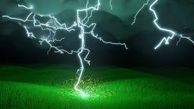 Μπουλόνι φωτισμού που χτυπά έναν τομέα της χλόης διανυσματική απεικόνιση