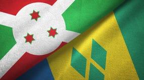 Μπουρούντι και Άγιος Βικέντιος και Γρεναδίνες δύο υφαντικό ύφασμα σημαιών απεικόνιση αποθεμάτων