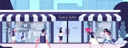 Μπουτίκ έξω Έξοδος μόδας με τα μανεκέν καταστημάτων στα παράθυρα επίδειξης και τα κορίτσια που περπατούν κατά μήκος της οδού r απεικόνιση αποθεμάτων