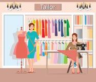 Μπουτίκ εσωτερική της μόδας υφασμάτων γυναικών ` s απεικόνιση αποθεμάτων