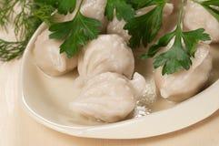 Μπουλέττες κρέατος (pelmeni) στοκ εικόνες