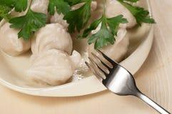 Μπουλέττες κρέατος (pelmeni) στοκ εικόνα με δικαίωμα ελεύθερης χρήσης