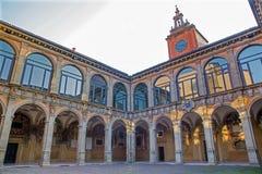 Μπολόνια - αίθριο Archiginnasio Στοκ Φωτογραφία