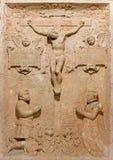 Μπρατισλάβα - ανακούφιση της σταύρωσης. Λεπτομέρεια από την πέτρα τάφων crypt κάτω από το παρεκκλησι του ST Ann στον καθεδρικό ναό Στοκ φωτογραφία με δικαίωμα ελεύθερης χρήσης