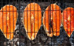 Μπριζόλες σολομών που μαγειρεύουν στη σχάρα σχαρών για το θερινό υπαίθριο κόμμα Υπόβαθρο τροφίμων με το κόμμα σχαρών στοκ φωτογραφία με δικαίωμα ελεύθερης χρήσης