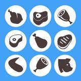 Μπριζόλα εικονιδίων κρέατος διανυσματική απεικόνιση