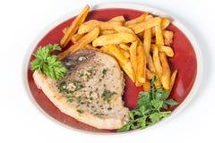 Μπριζόλα και τηγανητά ξιφιών Στοκ εικόνα με δικαίωμα ελεύθερης χρήσης