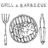 Μπριζόλα Mignon διχτυού στη σχάρα για BBQ, τις λαβίδες και το δίκρανο Γράφοντας σχάρα και σχάρα Ρεαλιστικό ύφος συρμένο το χέρι S διανυσματική απεικόνιση