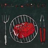 Μπριζόλα Mignon διχτυού στη σχάρα για BBQ, τις λαβίδες και το δίκρανο Γράφοντας σχάρα και σχάρα Ρεαλιστικό ύφος κινούμενων σχεδίω απεικόνιση αποθεμάτων