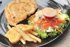 Μπριζόλες ψαριών και φυτική σαλάτα με τις τηγανιτές πατάτες Στοκ φωτογραφίες με δικαίωμα ελεύθερης χρήσης