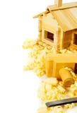 μπροστινά Windows σπιτιών γκαράζ πορτών λεπτομέρειας κατασκευής Εργασίες ξυλουργού Ο μικρός Στοκ φωτογραφίες με δικαίωμα ελεύθερης χρήσης