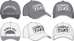 Μπροστινής, πίσω και πλάγιας όψη καπέλων του μπέιζμπολ, διάνυσμα στοκ εικόνες