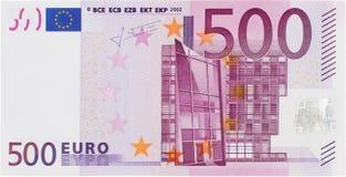 Μπροστινή άποψη 500 ευρώ Μπιλ Στοκ Εικόνες