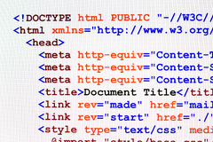Μπροστινή άποψη κώδικα ιστοσελίδας HTML Στοκ φωτογραφία με δικαίωμα ελεύθερης χρήσης