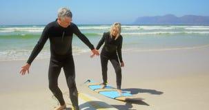 Μπροστινή άποψη της ενεργού ανώτερης καυκάσιας άσκησης ζευγών στην κυματωγή στην παραλία 4k φιλμ μικρού μήκους