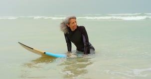 Μπροστινή άποψη της ενεργού ανώτερης συνεδρίασης surfer αφροαμερικάνων θηλυκής στην ιστιοσανίδα στη θάλασσα 4k φιλμ μικρού μήκους